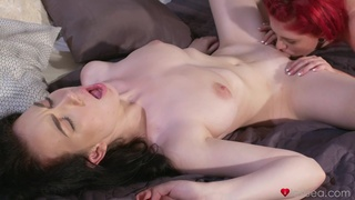 Redhead chick moans while getting her pussy licked by her friend