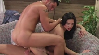 Small tits cutie Vanessa Mae gets double penetrated by two dudes