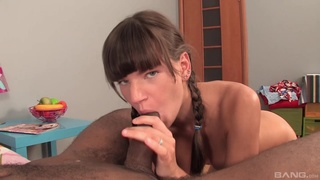 Cute darling with pigtails sucks a large black dick and gets fucked