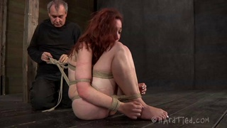 Nasty torture session for tied up redhead pornstar Maggie Mead