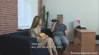 Real casting girl flashes tight tits and gets pounded missionary