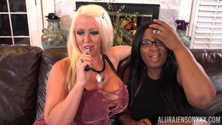 Giant breasted blonde MILF Alura Jenson lets several black studs fuck her