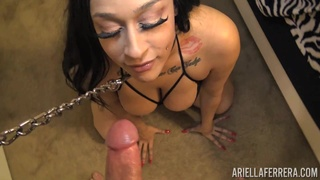 Really wild and sperm addicted busty MILF Lexxxi London gives sensual BJ