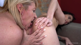 Svelte Hungarian brunette Nikki Fox is ready to work on mature pussy