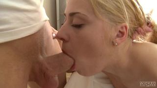 Oiled blonde girl Anabela definitely loves massage and good missionary fuck