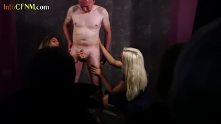 CFNM threesomes jerking off subjects cock