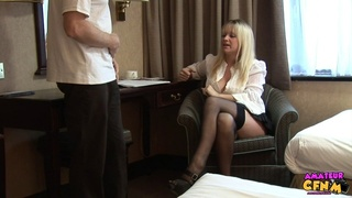 Enticing clothed woman cock teases a freaky guy