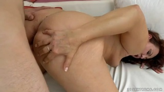 Mature granny red mary gets her old hairy cunt fucked by nerdy dude