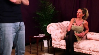 CFNM domme encouraging submissive guy
