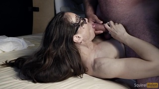 Bound Big Cock Fingering In The Mouth Of A Woman With Small Tits Swallowing Cum