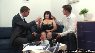 Old Fat Woman Fucks With Two Guys
