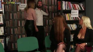 British Cfnm Dommes Sucking And Jerking Sub In Group