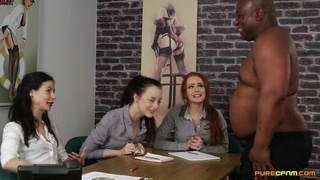 Aroused MILFs in CFNM with a fat black dude