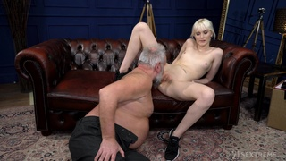 Old buck tries his luck with nubile blonde Miss Melissa