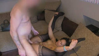 Amateur filmed in secret when trying white inches in her snatch