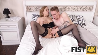 FIST4K. Horny chick in stockings bares buttocks for a heavy fist attack