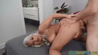 Bigboobs cougar rammed by little guy to cum j