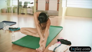 Busty teacher yoga exercises while naked with 2 girls
