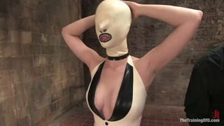 Blondie ends up covered by cum after a bondage scene