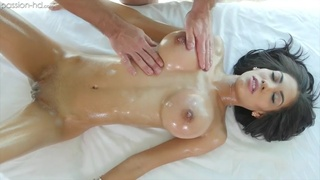 Big breasted puerto rican girl receives a massage and blows a dick