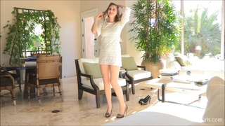 Amateur brunette in high heels loves flashing her horny pussy