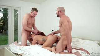 Sexy redhead wife gets double penetrated during a threesome