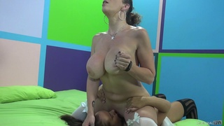 Angelic cowgirl in stocking moaning while being drilled hardcore doggystyle in ffm sex