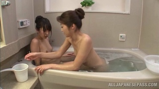 Angelic Asian lesbian with natural tits masturbating passionately in the bathroom
