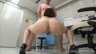 Epic Asian nurse in high heels and a sexy pantyhose fingering her pussy before giving a superb blowjob