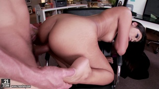 Brunette bitch takes a hard cock in her fuckin' pussy