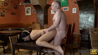 Daddy invites step son and his GF to the bar and fucks