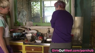 Girls Out West - Wild lesbian strap on fuck and cunnilingus