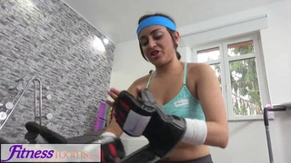 Petite sporty British Afghan gets a rough fuck in the gym