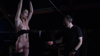 Arwen Gold BDSM session with sex toys and leather whip