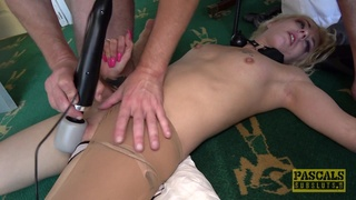 Sexual delight for a gagged blonde with small tits