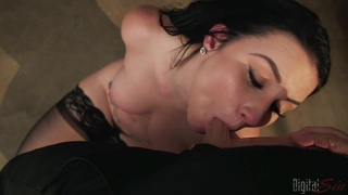 Man's huge dick stimulates her after a rough pussy maledom