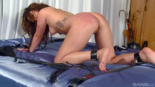 Submissive redhead clamed and roughly fucked in home femdom