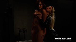 Lesbian Madame In Leather Outfit Gives Perfect Massage To Slave