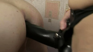 A Thick Cock and a Thicker Strapon for Male Bisexual Sub