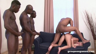 Hot blonde gets blacked in the craziest gangbang