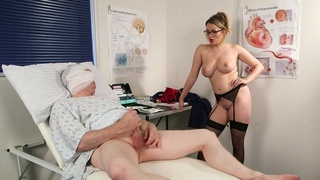 Appealing nurse strips for the patient and gets laid with him