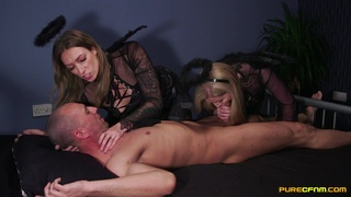 Addictive CFNM threesome leads horny matures to crazy orgasms