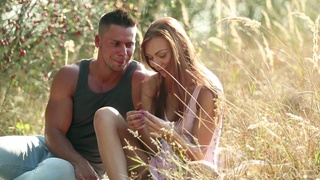 Sexy babe sucks her man's muscular dick in a charming outdoor XXX play