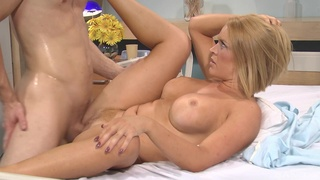 Busty MILF tries hard fucking with the young patient