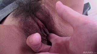Sweet Yuri Aine's hairy cunt stimulated with vibrator before hot fucking