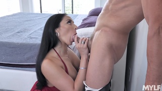 Cum on tits after the man ravishes her wet snatch
