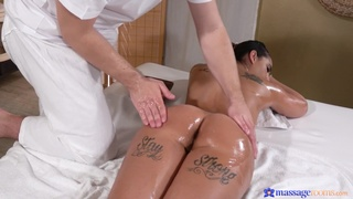 Kiara Strong literally shines during oiled massage and resulting banging