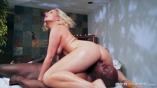 Black  man rams the hot masseuse and cums on her fine tits