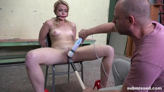 Submissive blonde gets clamped and forced fucked