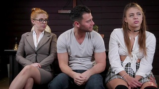 Submissive whore endures BDSM porn with a horny couple